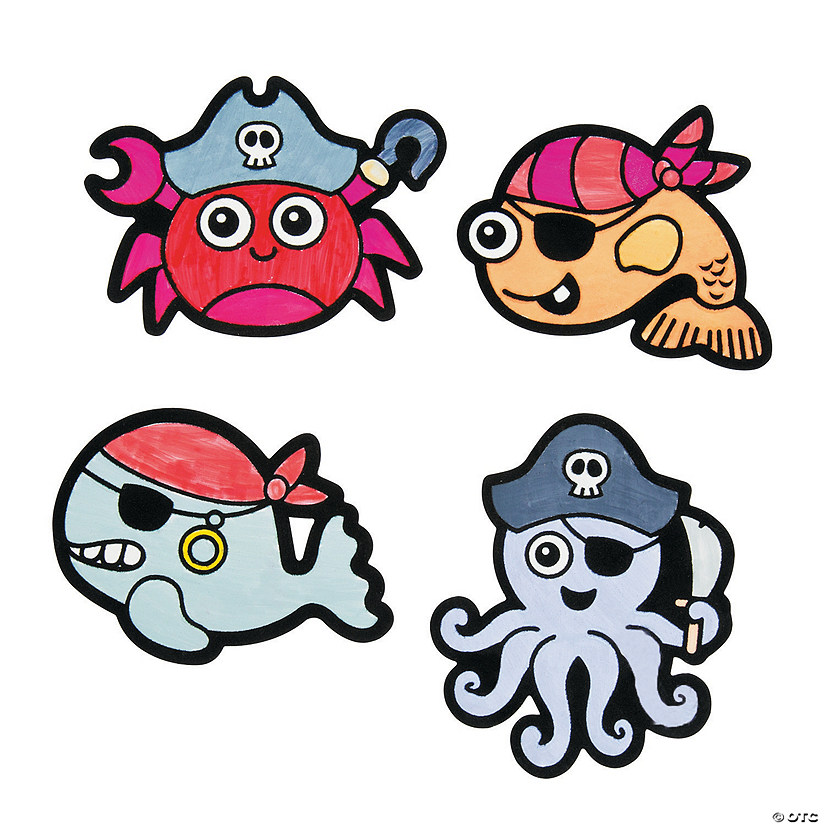 Color Your Own Fuzzy Pirate Sea Life Magnets