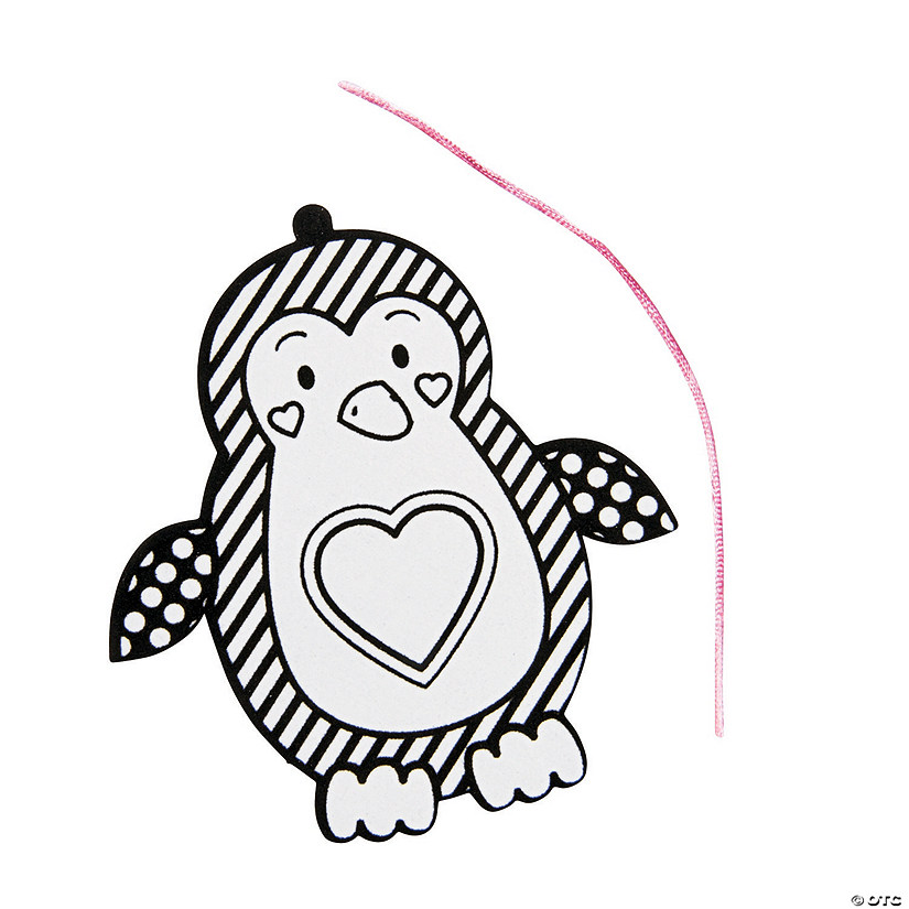 Color Your Own Fuzzy Valentine Penguin Ornament