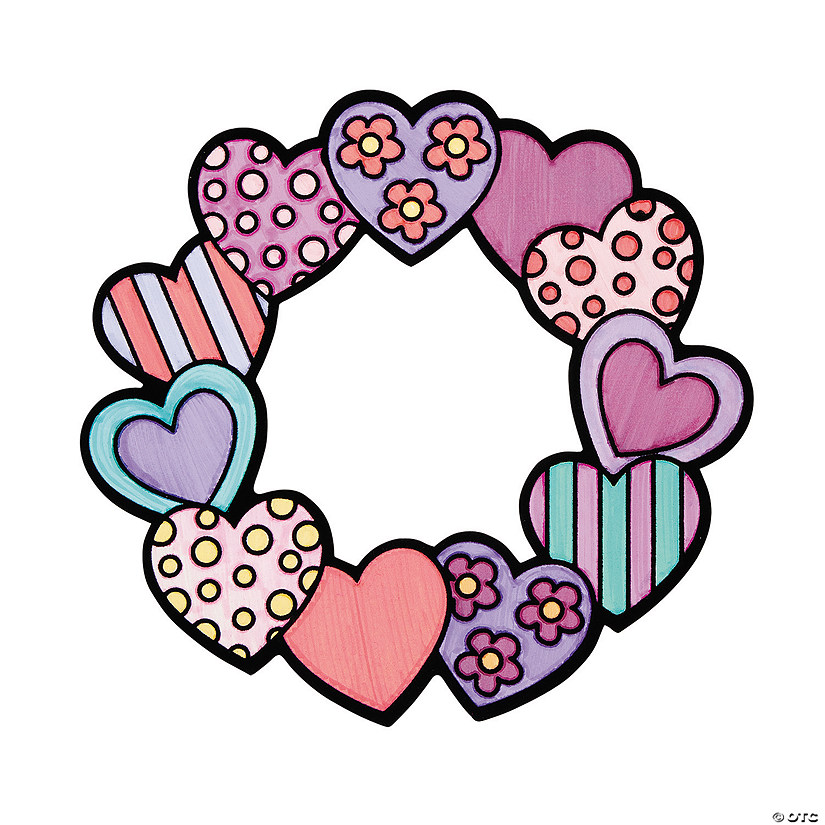 Color Your Own Fuzzy Valentine Wreaths