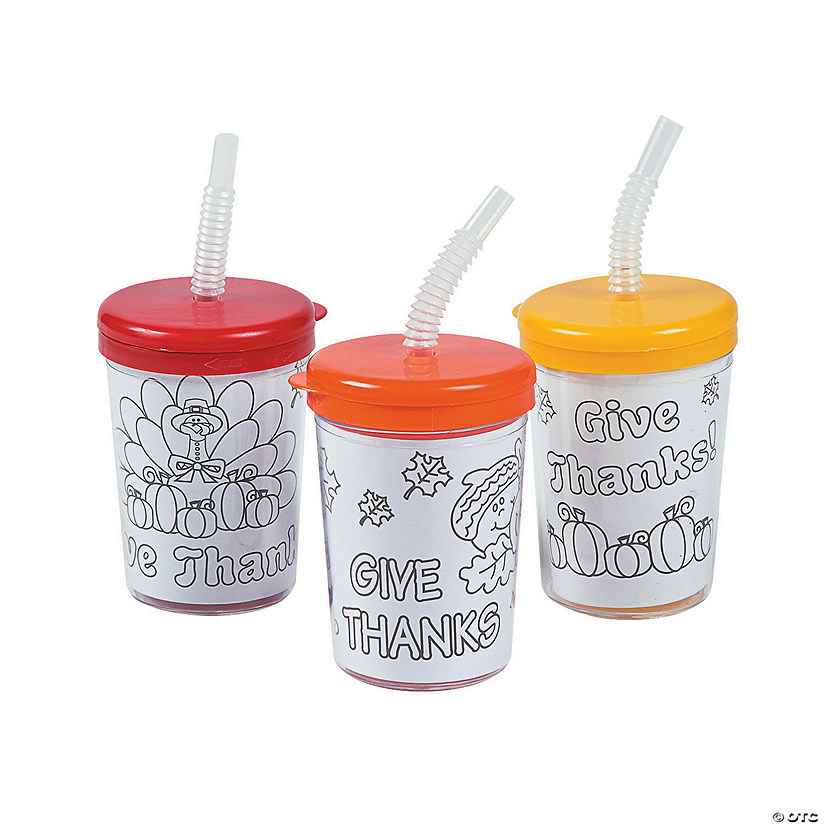 Color Your Own Give Thanks Cups with Lids & Straws Audio Thumbnail