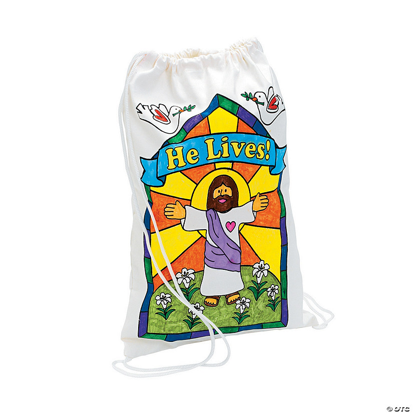 Color Your Own He Lives Canvas Drawstring Backpacks