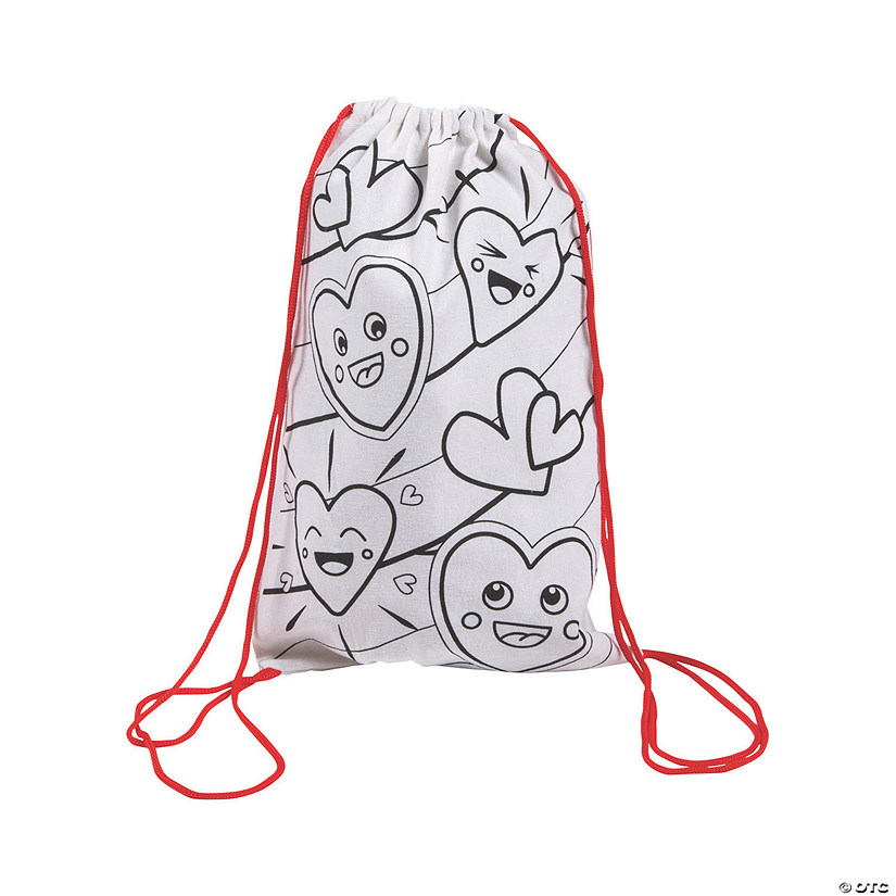 Color Your Own Heart Canvas Drawstring Bags