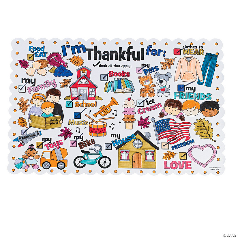 Color Your Own I'm Thankful for Thanksgiving Place Mats Image Thumbnail
