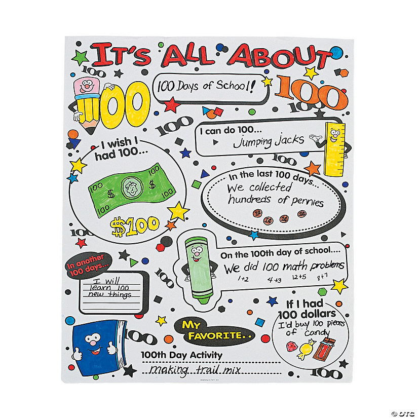 Color Your Own It's All About 100th Day of School Poster Set Audio Thumbnail