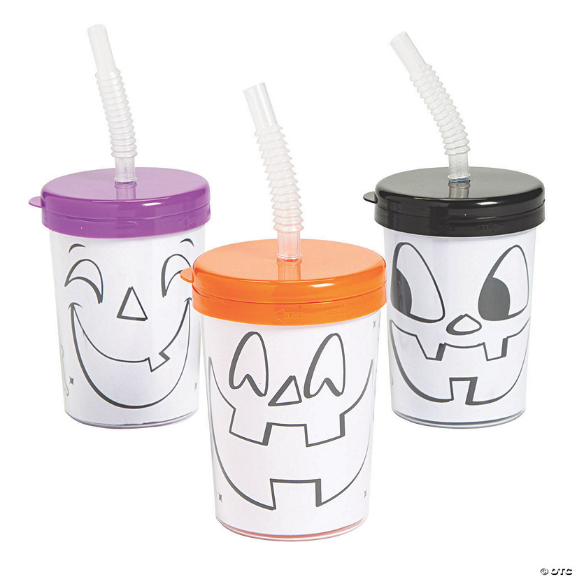 Color Your Own Jack-O'-Lantern Cups with Lids & Straws Image Thumbnail