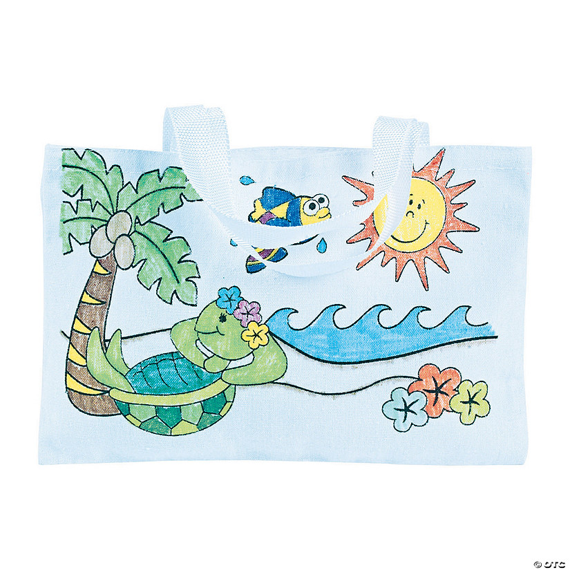 Color Your Own Large Tropical Canvas Tote Bags Audio Thumbnail