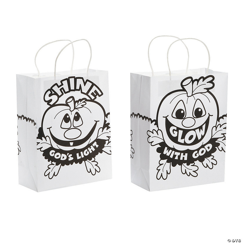 Color Your Own Medium Christian Pumpkin Gift Bags Image Thumbnail