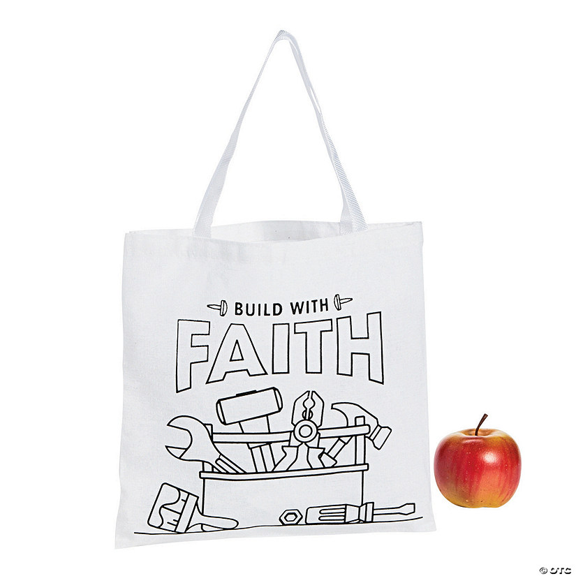 Color Your Own Medium Construction VBS Canvas Tote Bags Audio Thumbnail