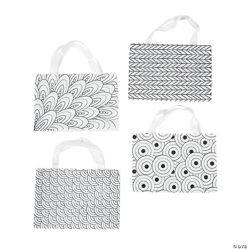 Color Your Own Medium Doodle Canvas Tote Bags Audio Thumbnail