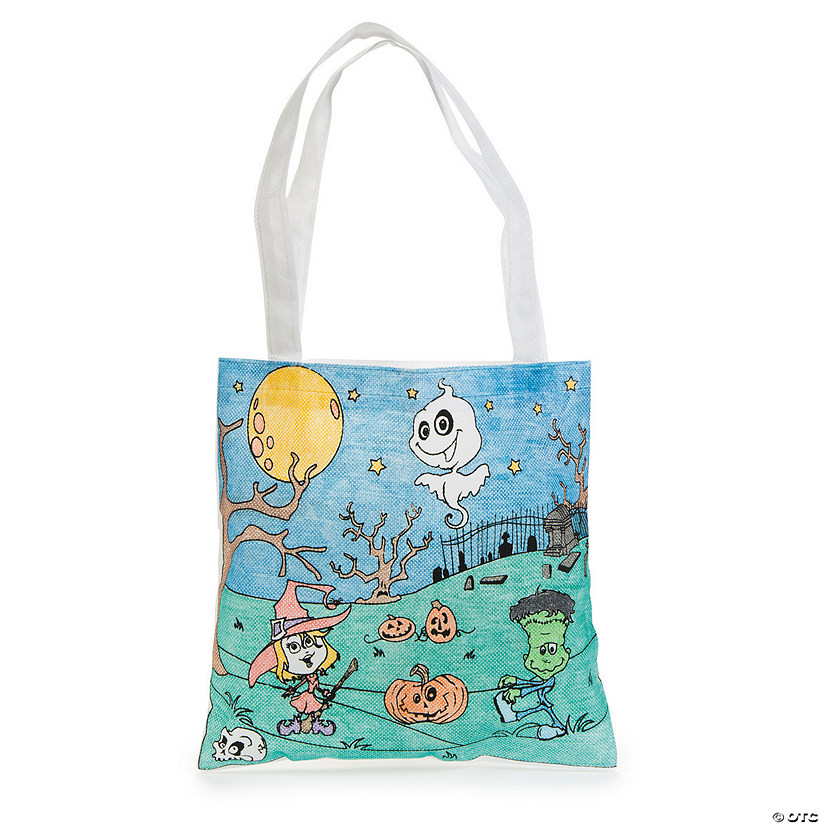 Color Your Own Medium Goofy Goblins Halloween Tote Bags Image Thumbnail