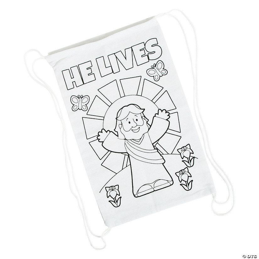 Color Your Own Medium He Lives Canvas Drawstring Bags Audio Thumbnail