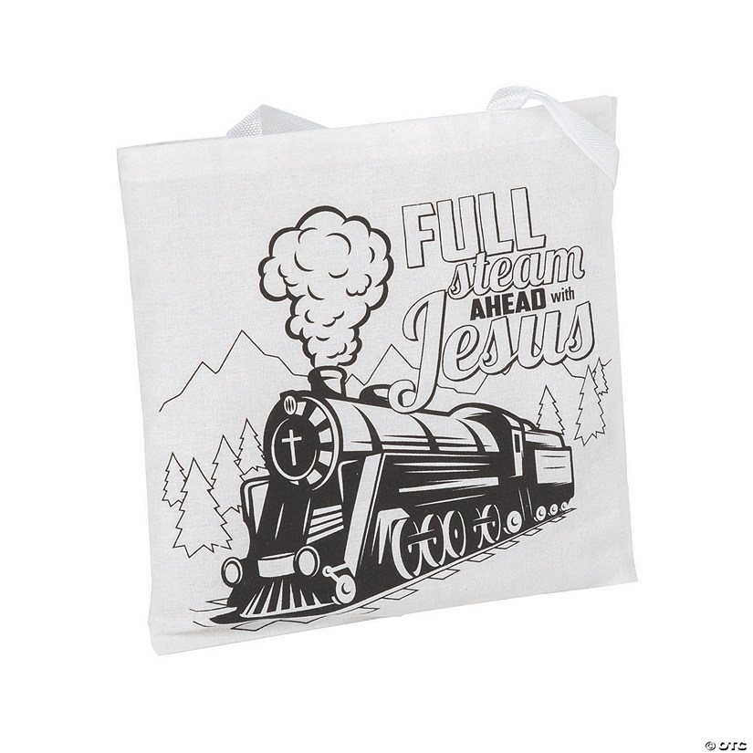 Color Your Own Medium Railroad VBS Canvas Tote Bags Image Thumbnail