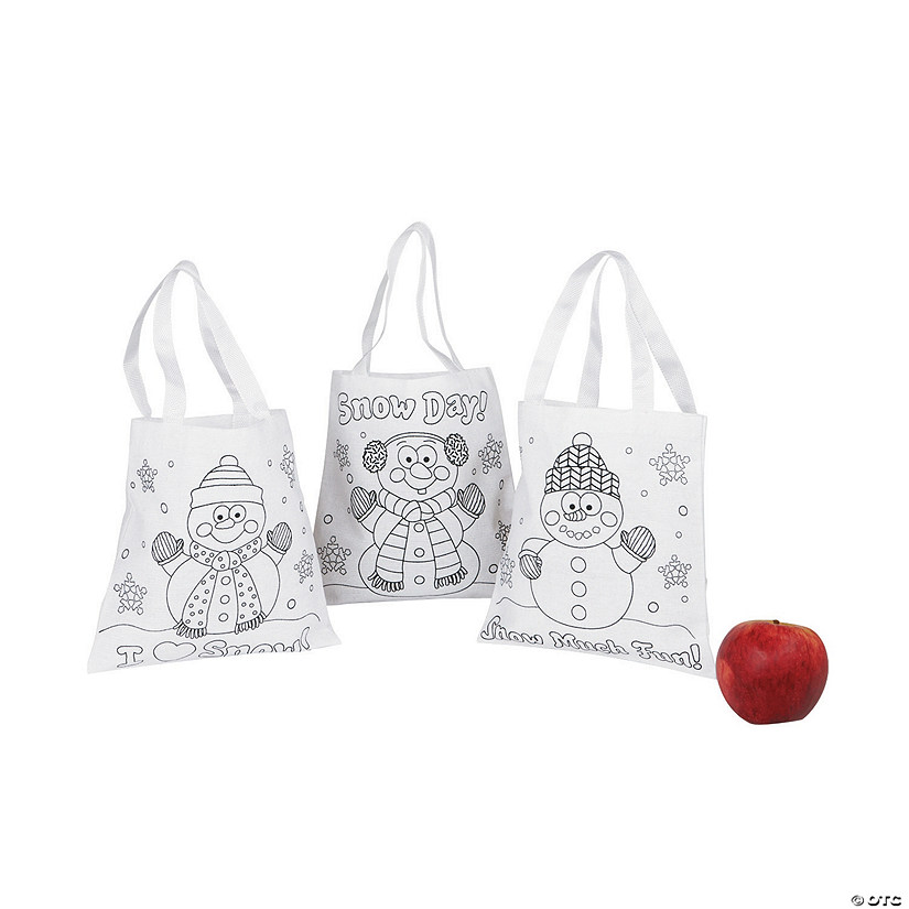 Color Your Own Mini Snowman Canvas Tote Bags Audio Thumbnail