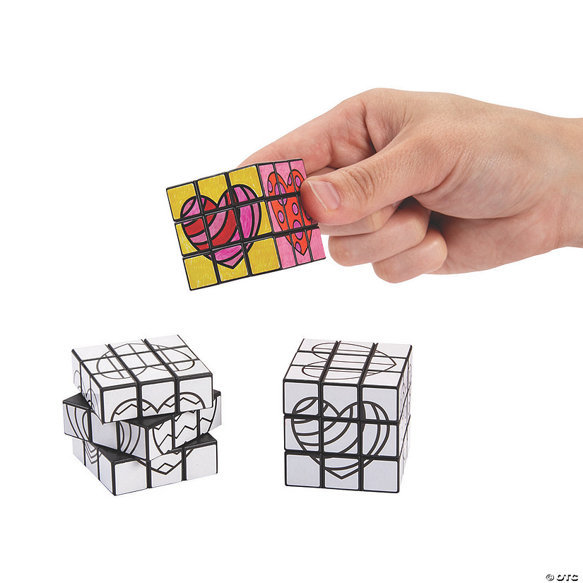 Color Your Own Mini Valentine Puzzle Cubes Image Thumbnail