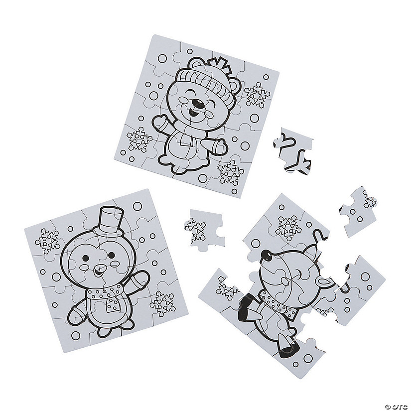 Color Your Own Mini Winter Puzzles Image Thumbnail