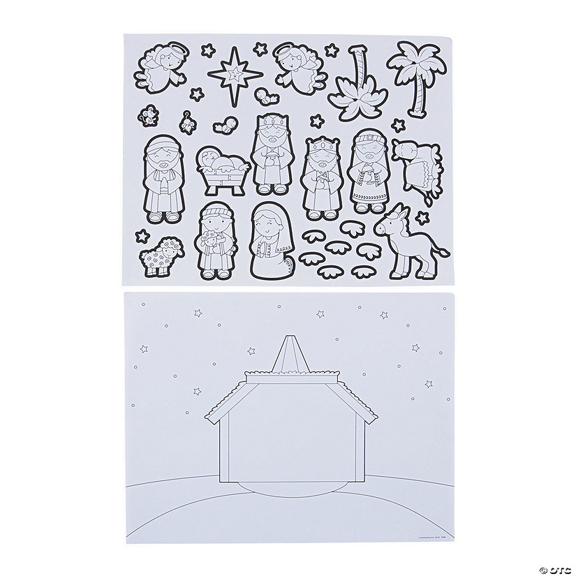 Color Your Own Nativity Sticker Scenes