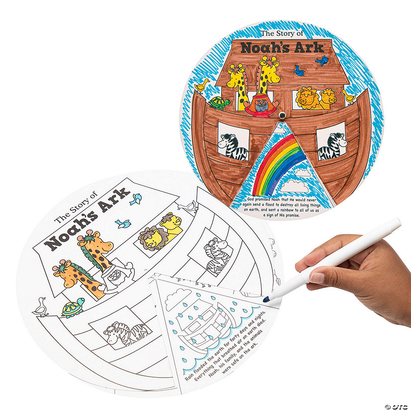 Color Your Own Religious Christmas Ornaments: Color Your Own Noah's Ark Story Wheels