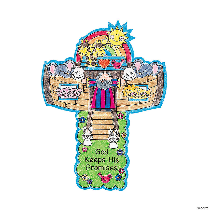 Color Your Own Noahs Ark Crosses