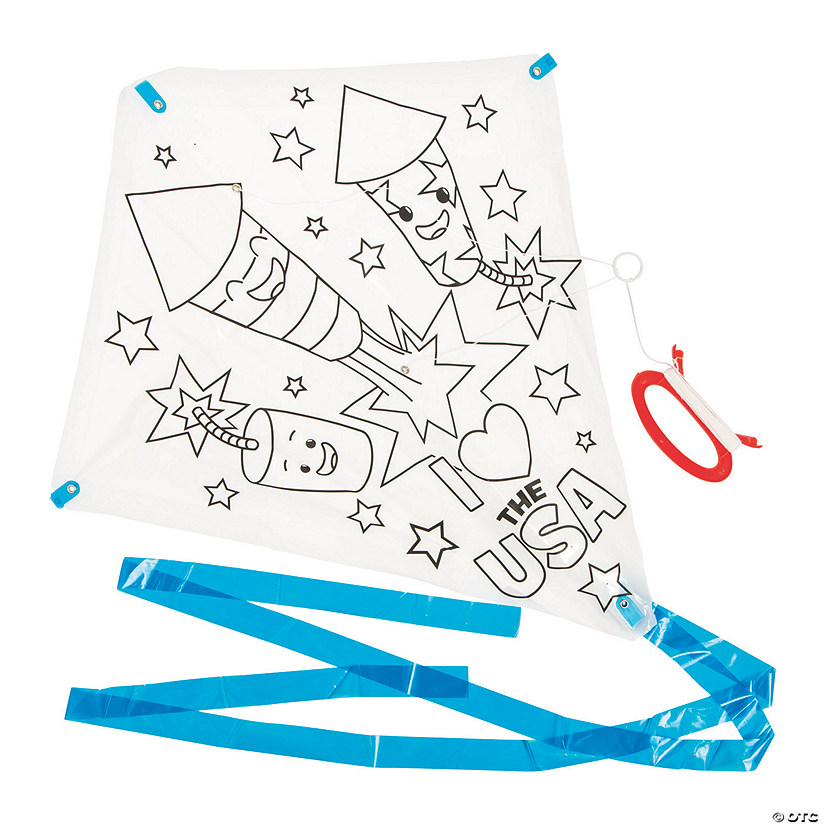 Color Your Own Patriotic Kites Image Thumbnail