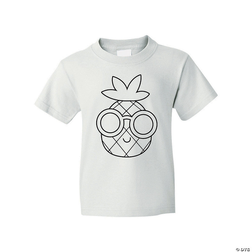 Color Your Own Pineapple Youth T-Shirt Image Thumbnail