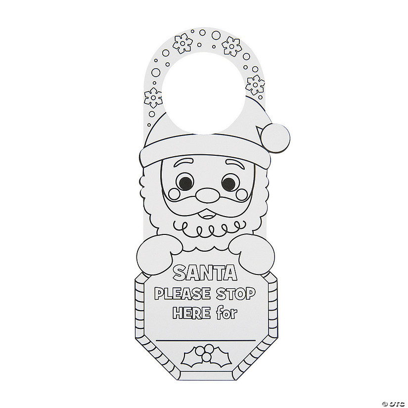 Color Your Own Santa Stop Here Doorknob Hangers Image Thumbnail