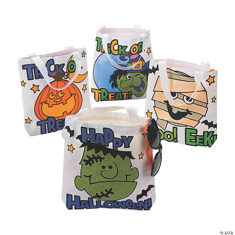 Color Your Own Small Halloween Tote Bags Image Thumbnail
