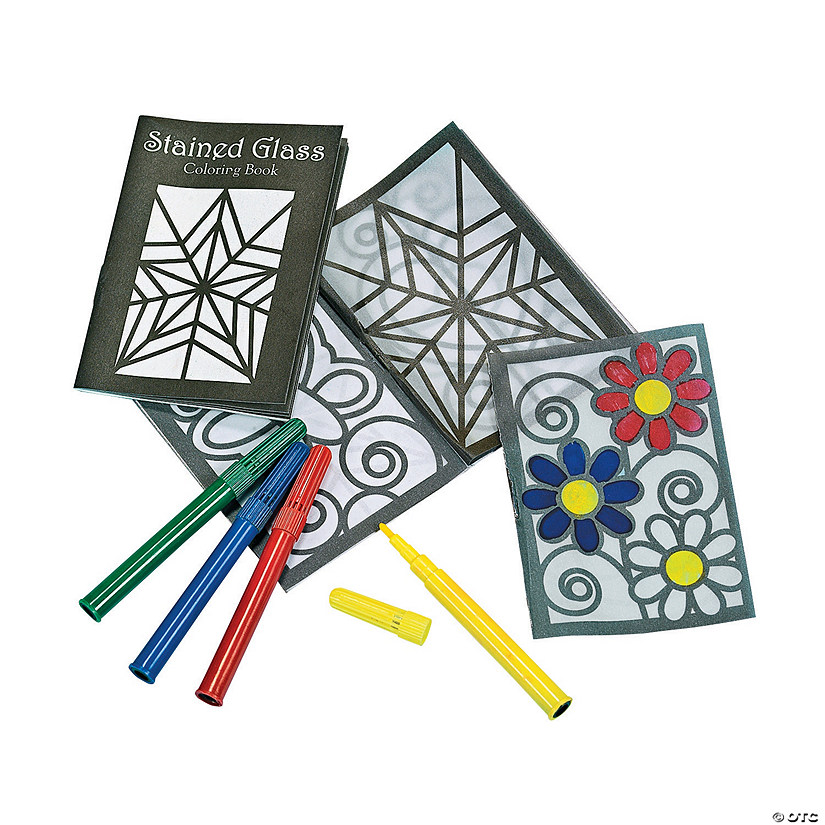Color Your Own Stained Glass Coloring Books with Markers - Discontinued