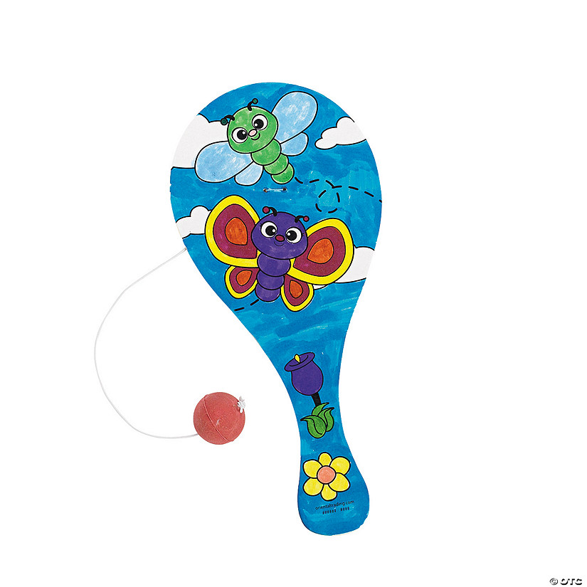 Color Your Own Wood Spring Paddleball Games Image Thumbnail