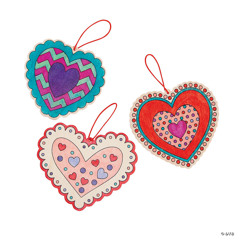 Color Your Own Wooden Heart Ornaments