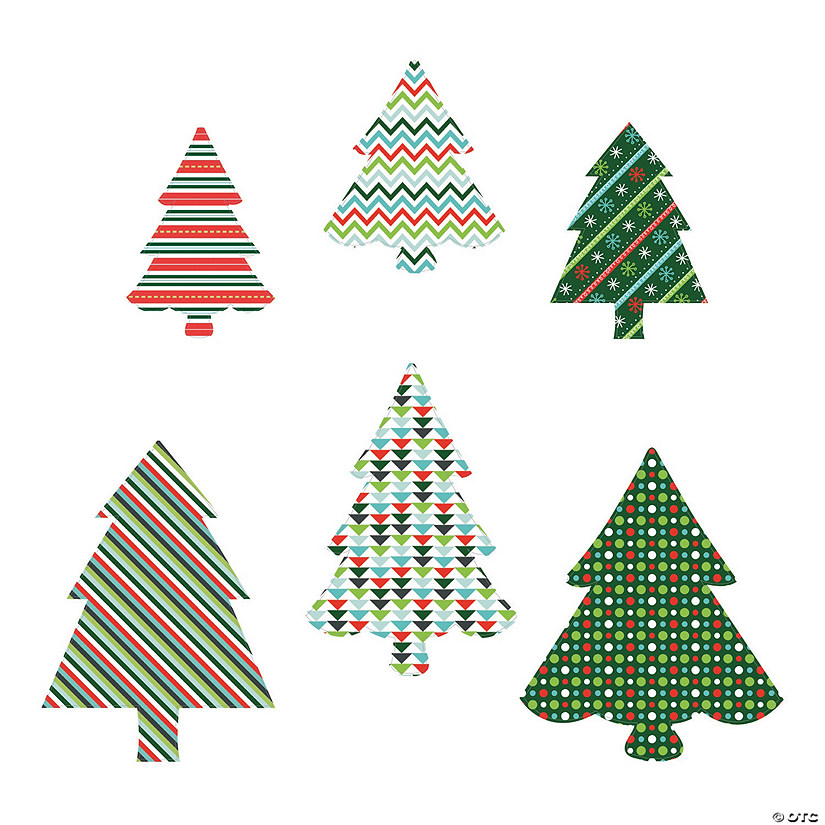 Colorful Christmas Tree Cardboard Cutouts