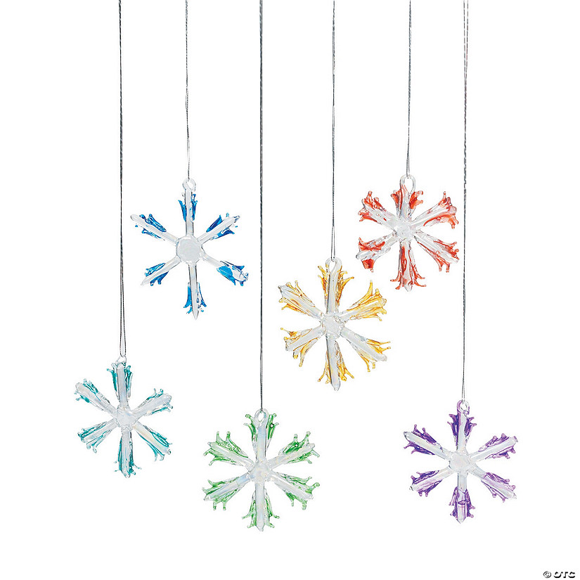 Colorful Glass Snowflake Christmas Ornaments