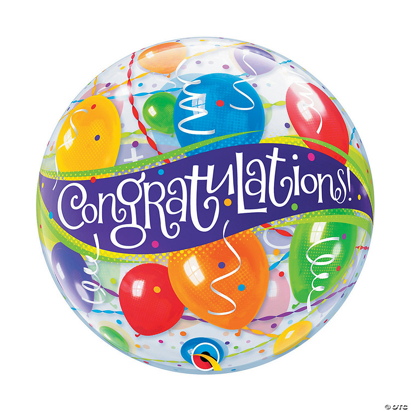 "Congrats 22"" Latex Bubble Balloon"