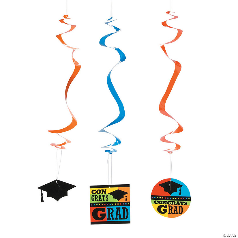 Congrats Grad Hanging Swirl Decorations - 12 Pc. Audio Thumbnail