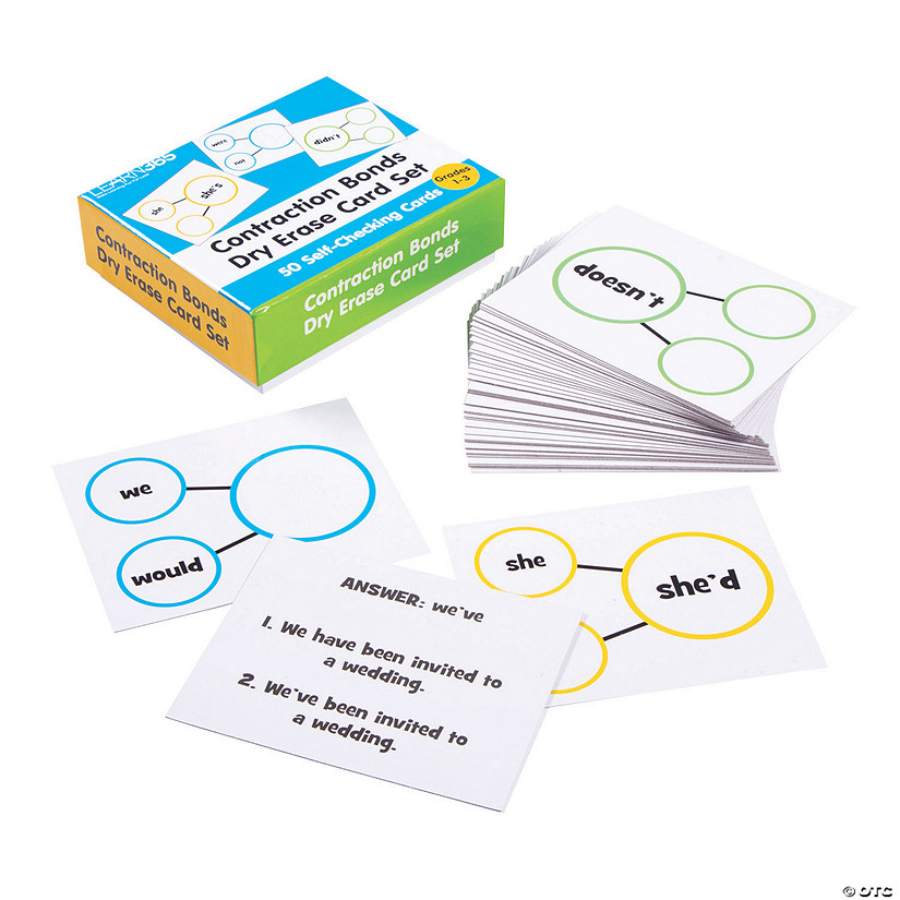 Contraction Bonds Dry Erase Cards Audio Thumbnail