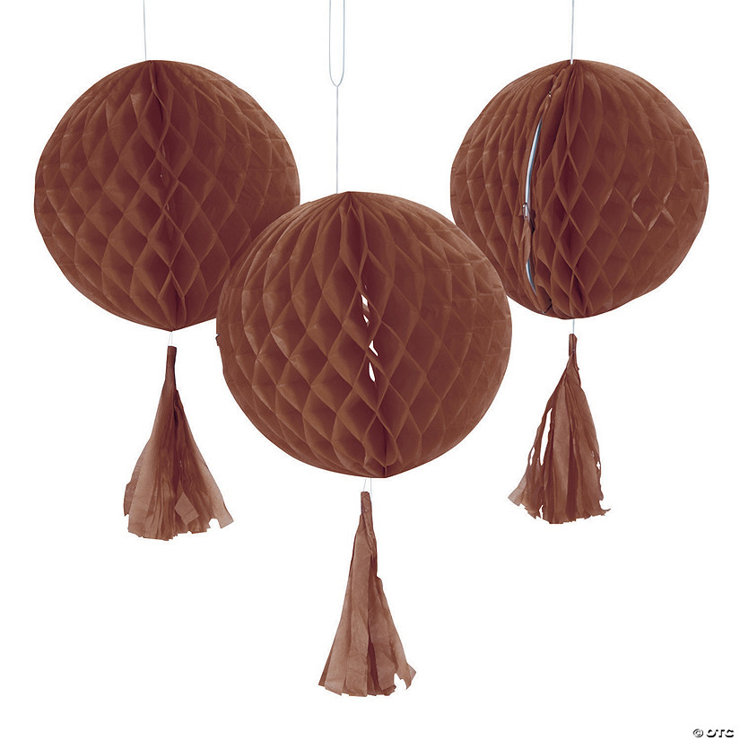 Copper Honeycomb Tissue Balls with Tassel - 12""