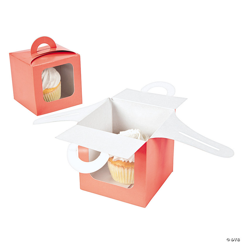 Coral Cupcake Boxes with Handle