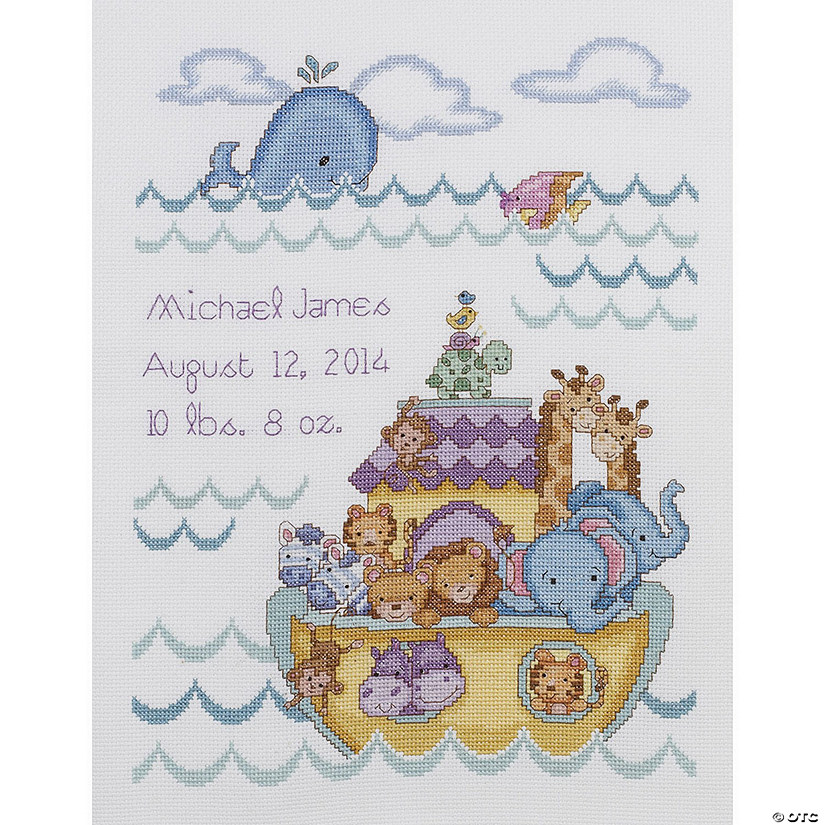 Counted XStitch Kit-Noah's Ark Birth Rec