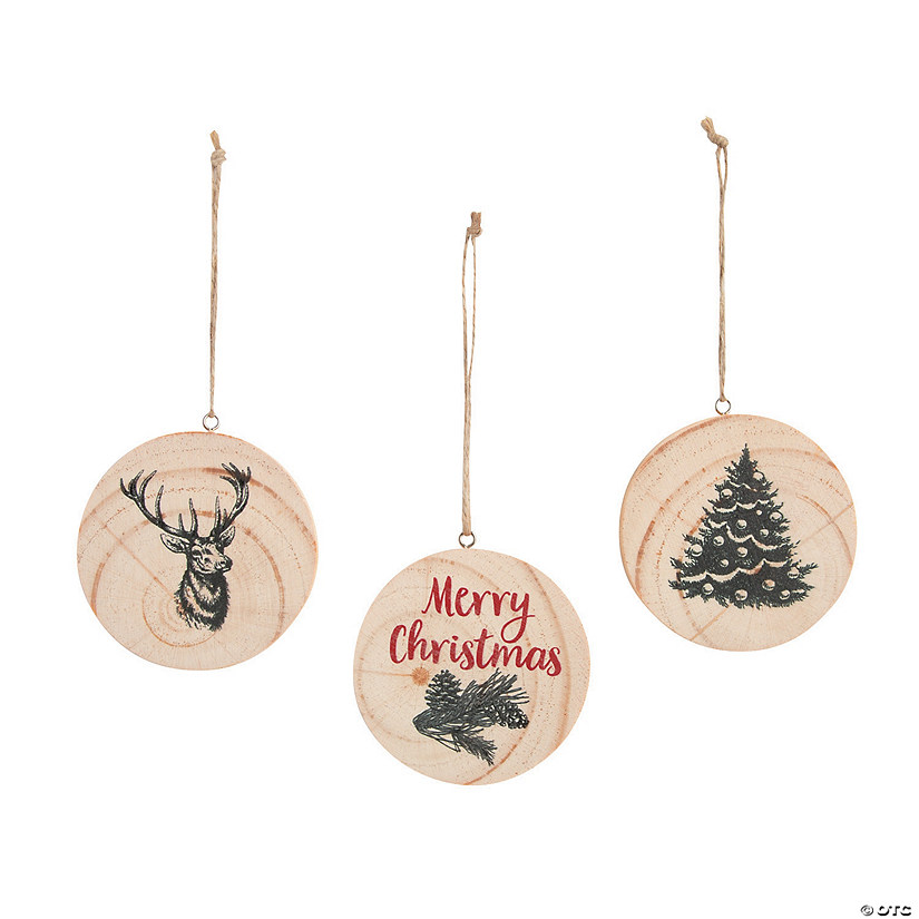 Cozy Classic Natural Wood Slice Ornaments Image Thumbnail