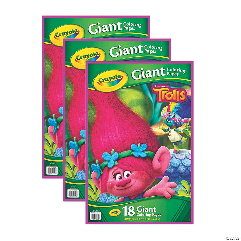 Crayola Giant Coloring Pages, Trolls, Pack of 3 | Oriental ...