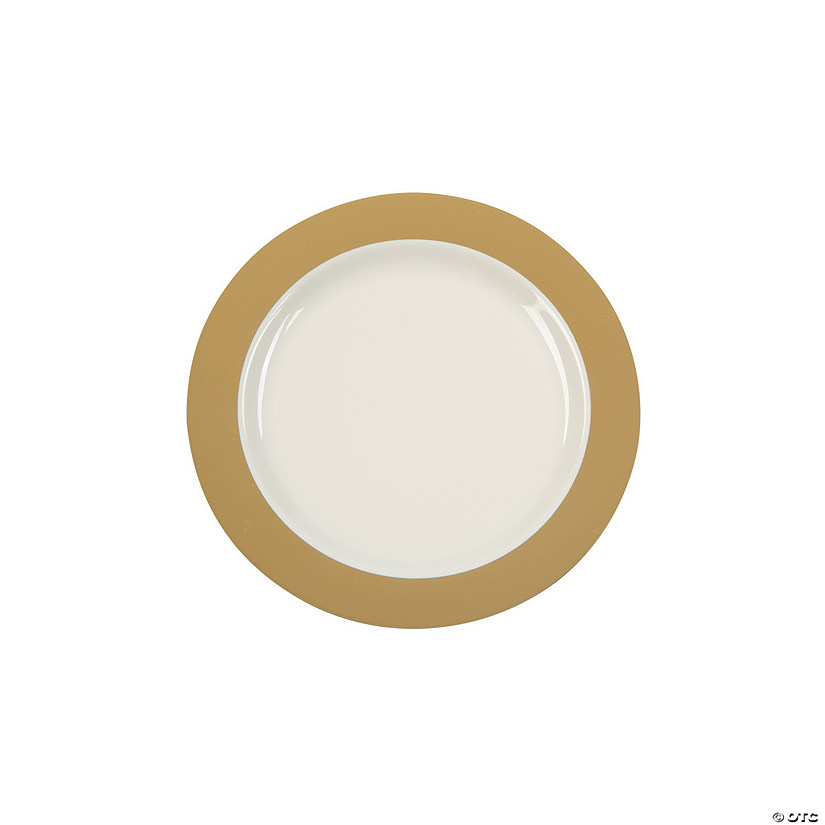 Cream Premium Plastic Dessert Plates with Gold Border