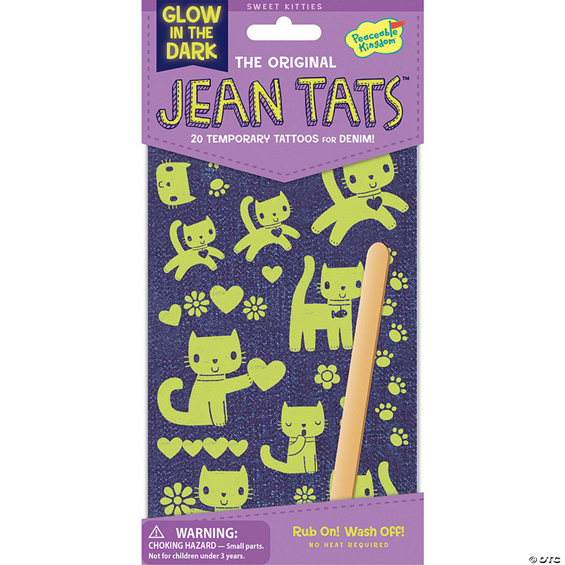 Cute Kitties Glow-In-The-Dark Jean Tats Pack Image Thumbnail