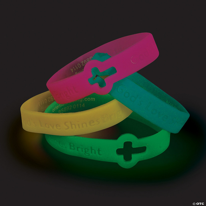 Cutout Cross Glow-in-the-Dark Faith Rubber Bracelets