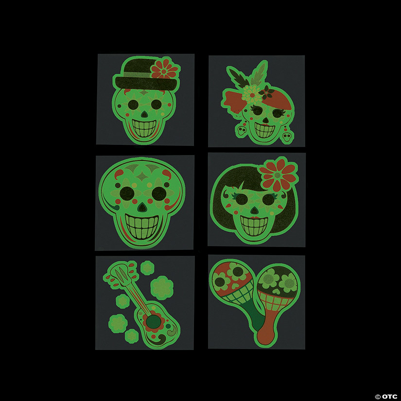 Day of the Dead Glow-in-the-Dark Tattoos Image Thumbnail