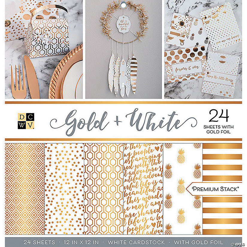"DCWV Single-Sided Cardstock Stack 12""X12"" 24/Pkg-Gold & White, 12 Designs/2 Each"