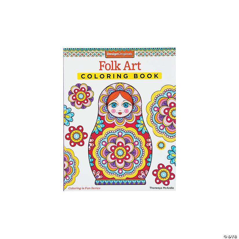 Design Originals Folk Art Adult Coloring Book
