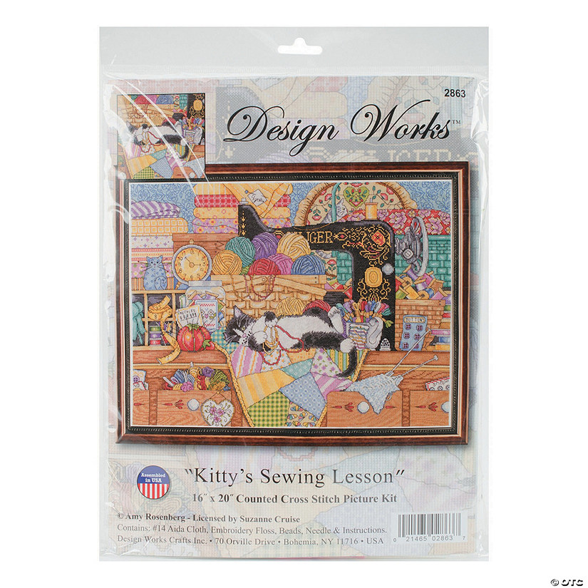 Design Works Counted Cross Stitch Kit - Kitty Sewing Lesson