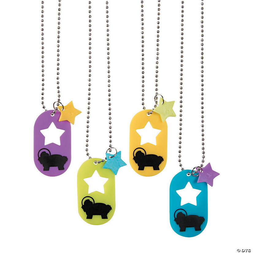 Die Cut Dog Tag Necklaces with Nativity Scene