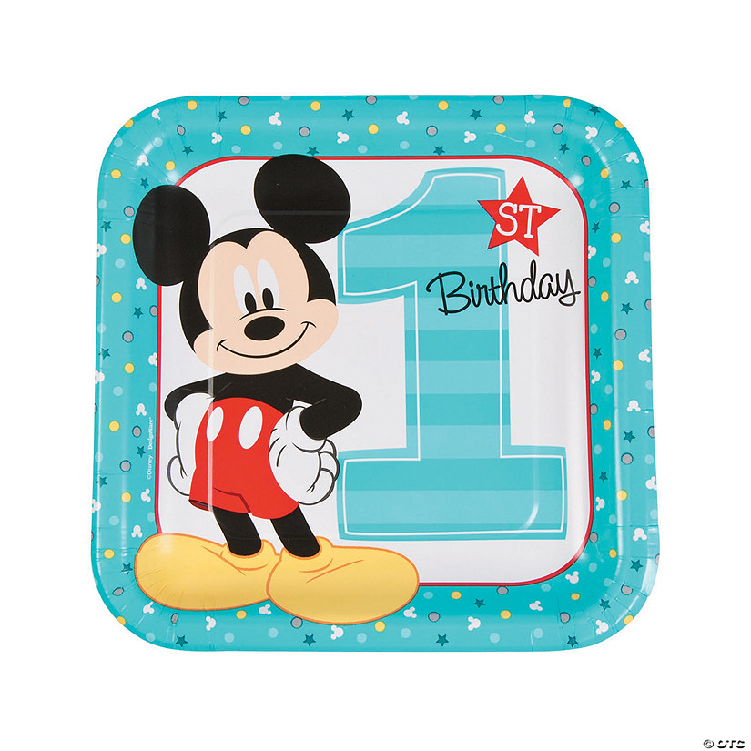 Disney® Mickey's Fun To Be One Square Paper Dinner Plates