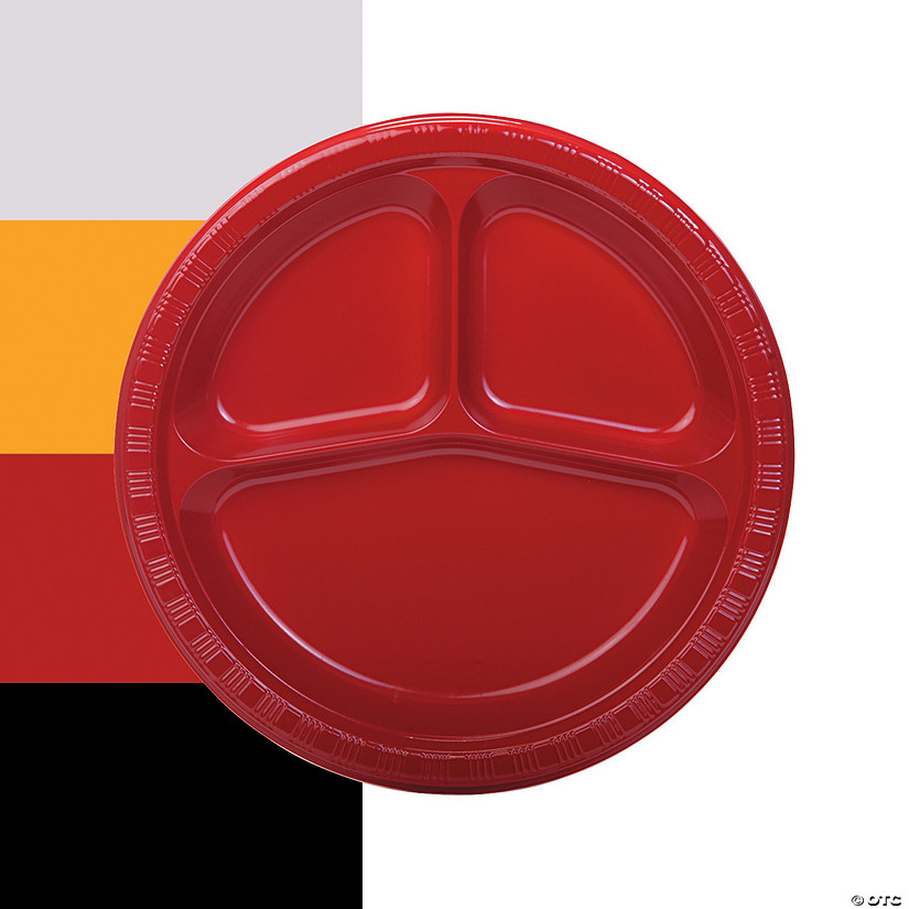Divided Plastic Dinner Plates - 20 Ct. Image Thumbnail