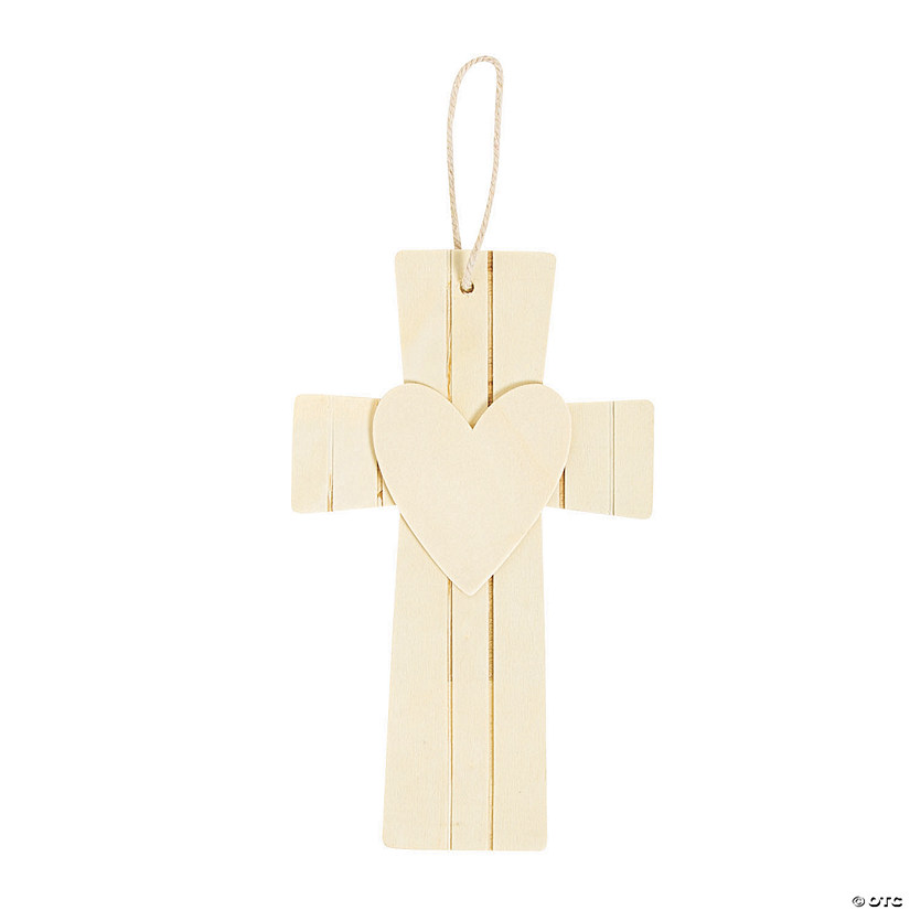 DIY Large Unfinished Wood Cross with Heart Ornaments Audio Thumbnail